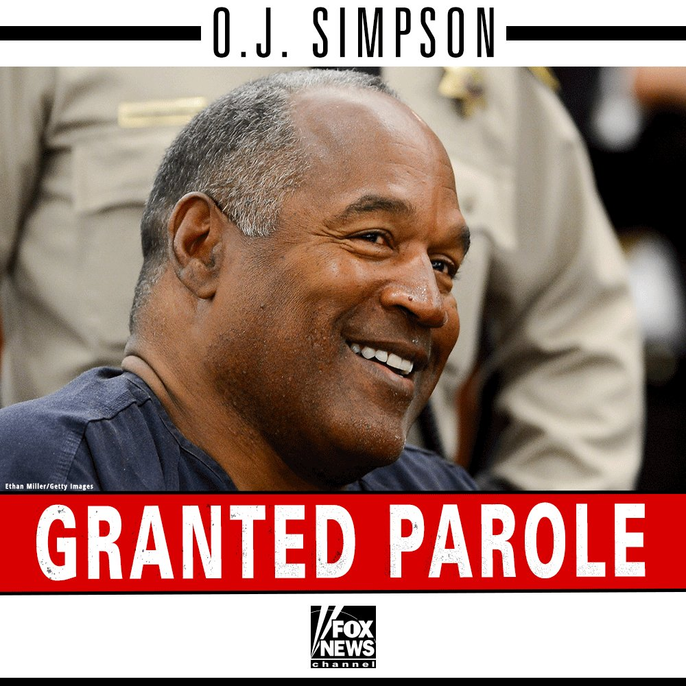 BREAKING NEWS: #OJSimpson has been granted parole. #OJSimpsonParole ht...