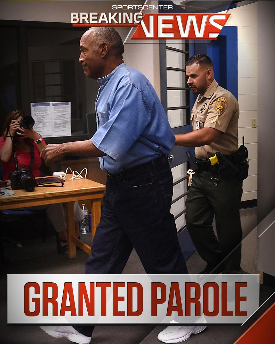 Breaking: O.J. Simpson has been granted parole nine years into a 33-year sentence; could be released as early as Oct. 1st.