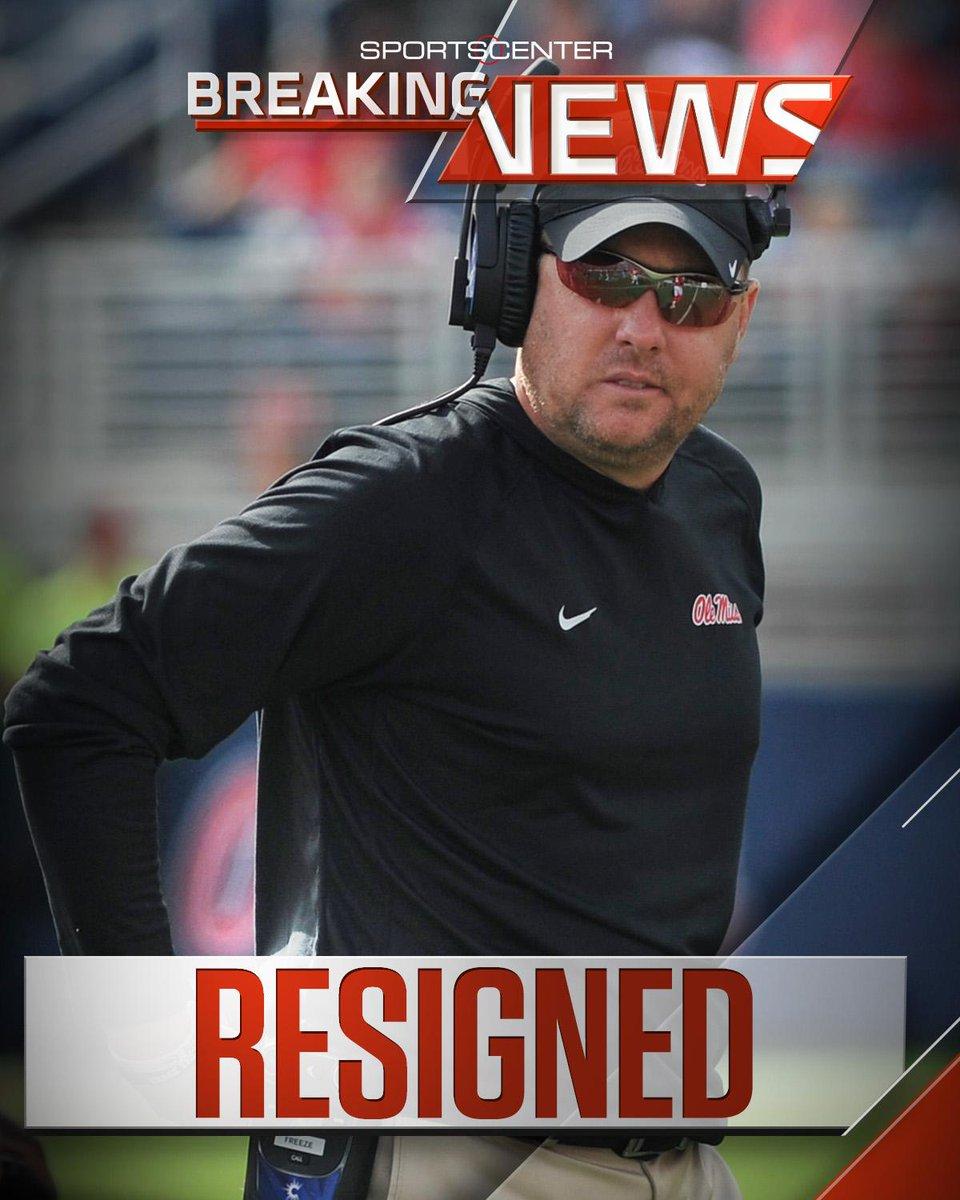 Breaking: Ole Miss head coach Hugh Freeze has resigned effective immed...