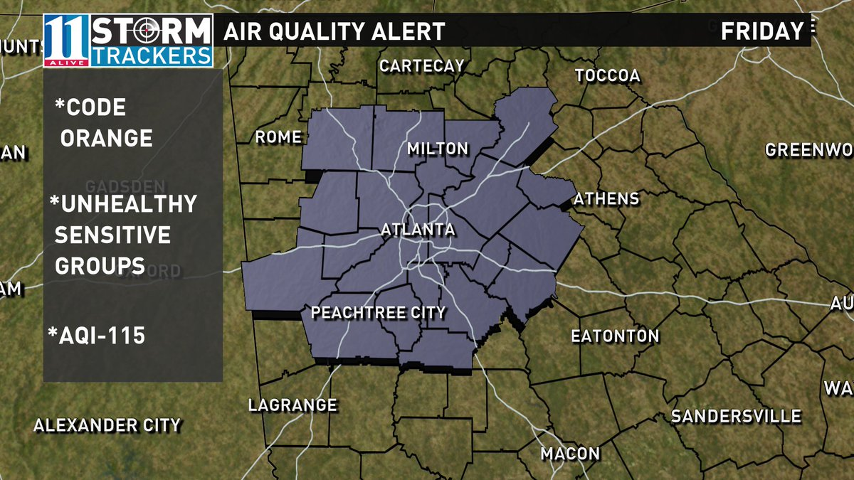 Air quality alert for Friday. Code Orange means it will be unhealthy for sensitive groups. #11Alive