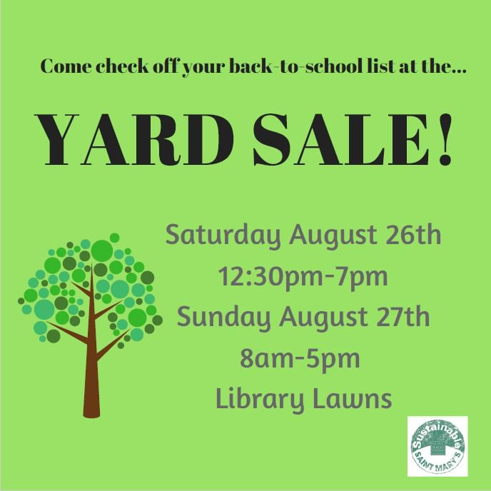 Yard Sale dates announced: 8/26 (12:30-7p) and 8/27 (8a-5p) - get school/room supplies on the cheap #greengaels #omgsmc https://t.co/sJZ7gfkFVG
