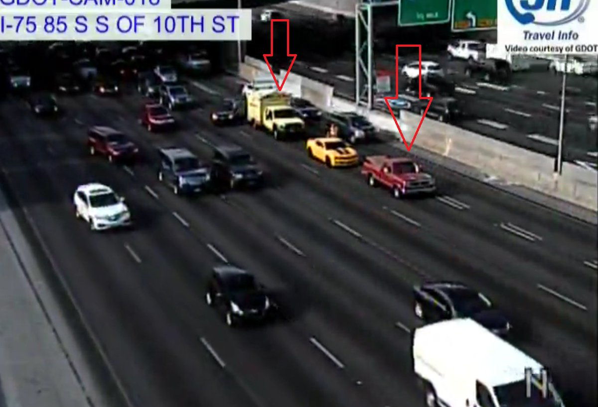 Downtown: Trouble in the 2nd left lane on the Conn/sb (75-85) past 10th St. HERO just getting on scene. Adding to delays. #ATLtraffic