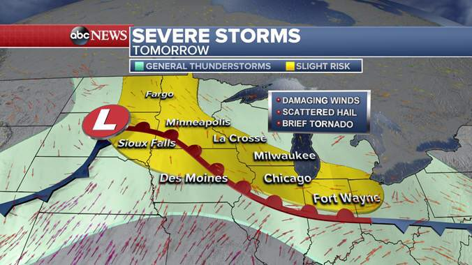Large area of severe storms -- damaging wind the primary threat -- in place for Friday! I'll see you on @ABCWorldNews