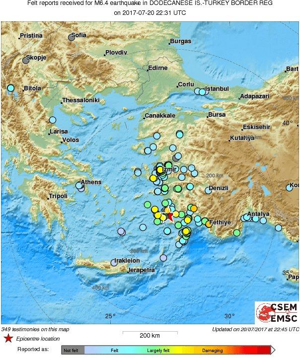 M6.6 #earthquake (#deprem) strikes 165 km S of #İzmir (#Turkey) 14 min...