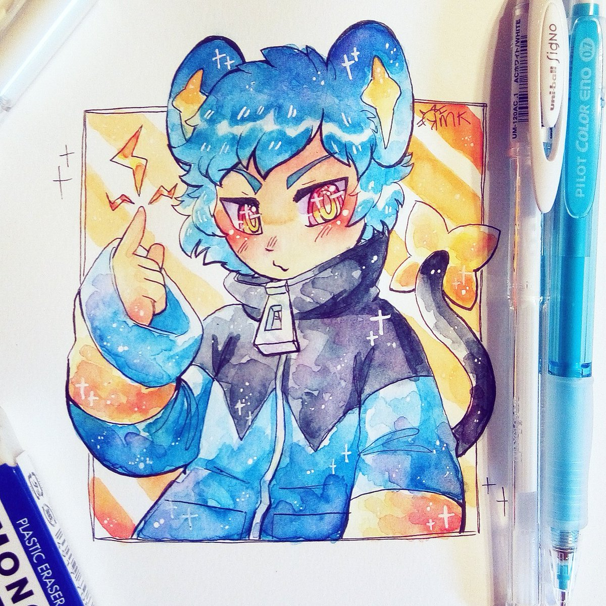 I took a small break today and doodled a smol shinx boy  #watercolor #doodle<br>http://pic.twitter.com/SEFHUypiDW