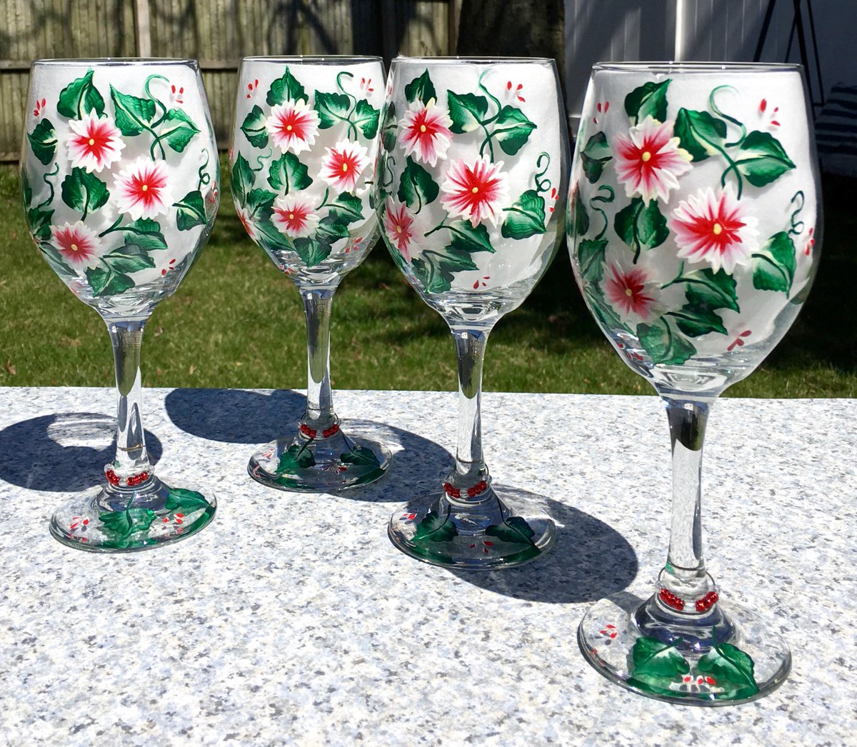 Set of four wine glasses  https://www. etsy.com/ipaintitpretty /listing/108878237/wine-glasses-hand-painted-red-flowers?ref=shop_home_active_44 &nbsp; …  #wineglasses #weddinggift #bridalshower #paintedglasses #entertaining #giftsforher<br>http://pic.twitter.com/rQcQd3ocqW