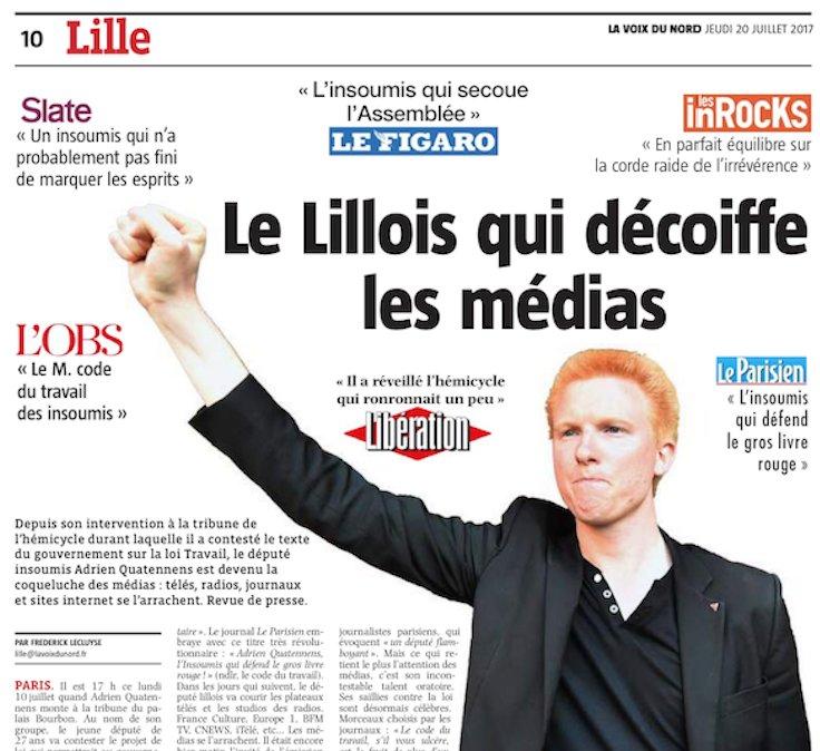 'Adrien Quatennens, le Lillois qui décoiffe les médias' : bon angle de @lavoixdunord hier > un local vue par la presse nationale.