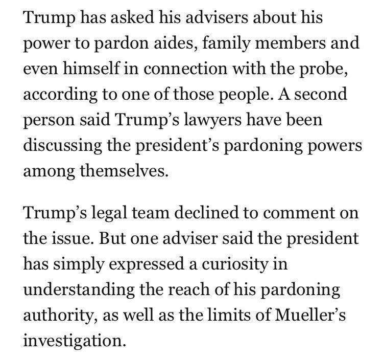 Can Trump pardon himself? That's what the president's legal team is investigating. https://t.co/0SCm4VV5js
