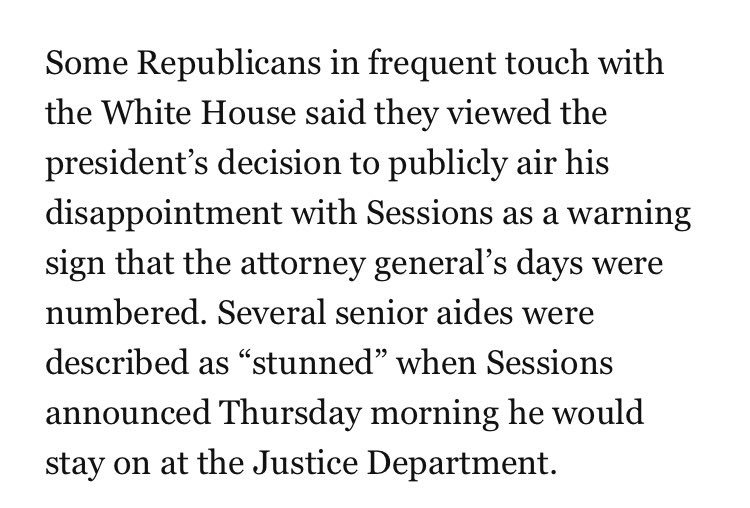 Trump's senior team was 'stunned' that Sessions didn't resign today, after Trump's broadside against him in the NYT. https://t.co/0SCm4VV5js