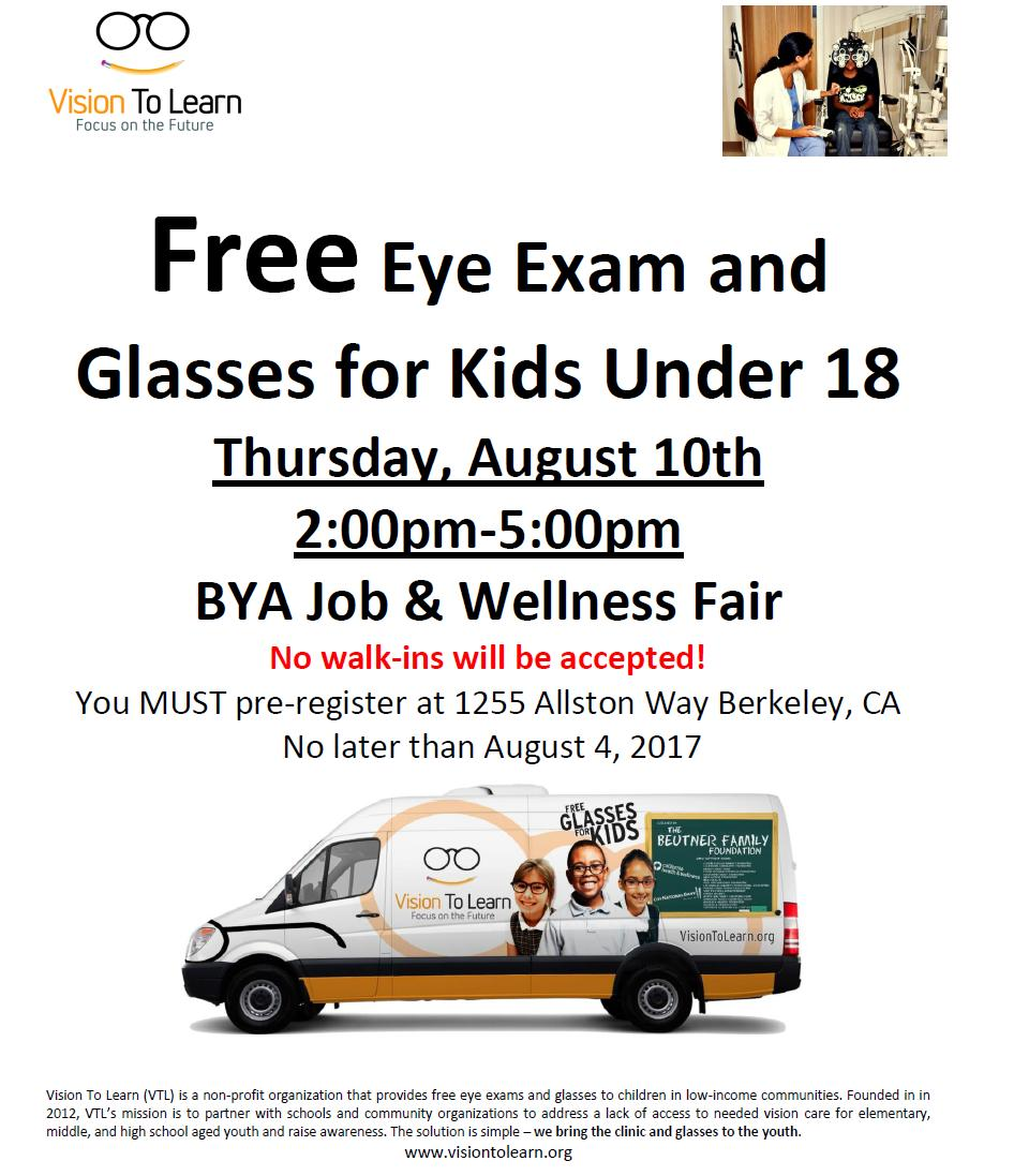 Free eye exams + glasses for kids on Aug 10! MUST pre-register in person at 1255 Allston Way #Berkeley by Aug 4. #HealthFair #EyeExams <br>http://pic.twitter.com/utgMNx7O45