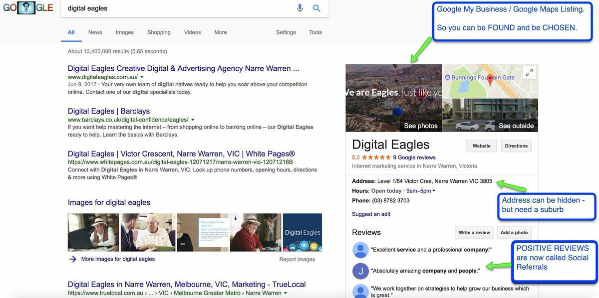 A Google My Business / Google Maps listing can be setup in 10 mins and it is also FREE to do.  #digitaleaglesau #localmarketing #googlemaps<br>http://pic.twitter.com/rDnMDXtR8O