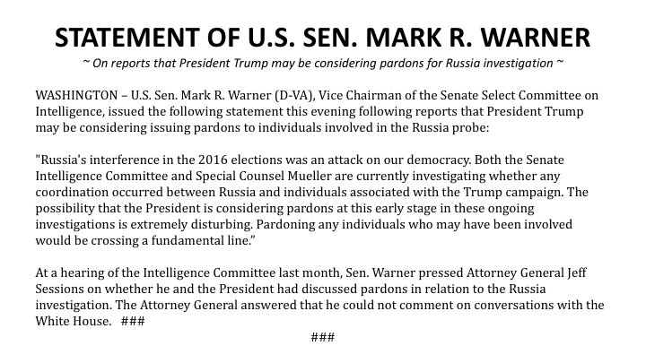 Statement on reports that President Trump may be considering pardons to individuals involved in the Russia probe: