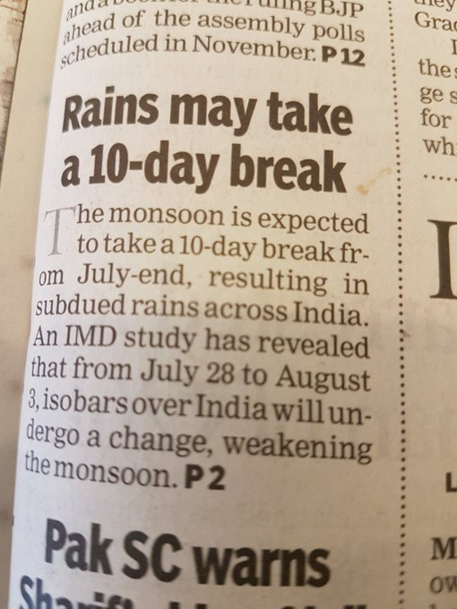 Expect Heavy rains today 😁😁😊 https://t.co/8TJwwa3pbS