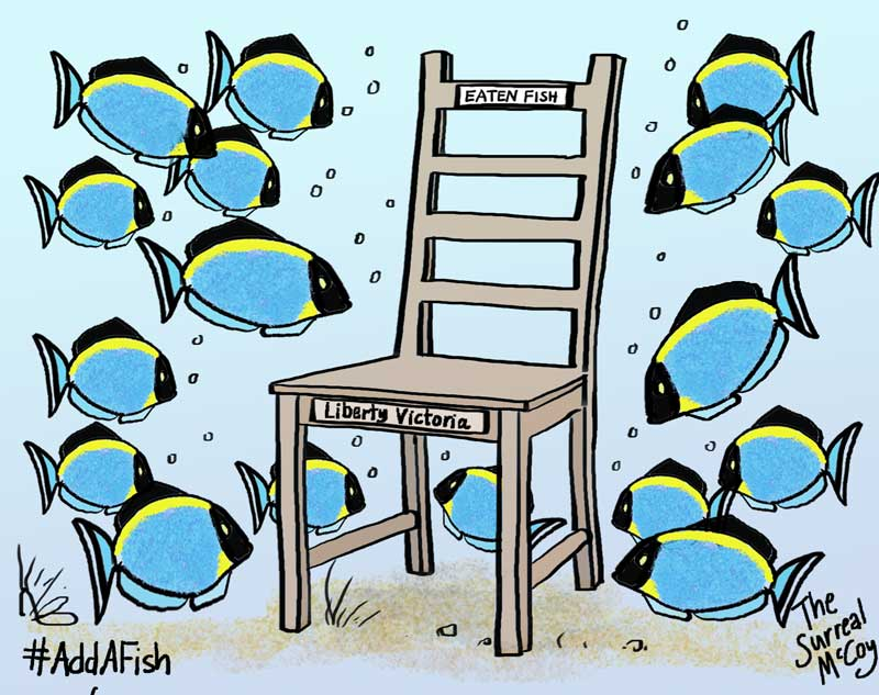 #AddAFish 4 #EatenFish #EmptyChair #Award #Voltaire2017 signed limited edition 1/1 print for #auction. Good luck tonight! @LibertyVic<br>http://pic.twitter.com/sh87VP2E6g
