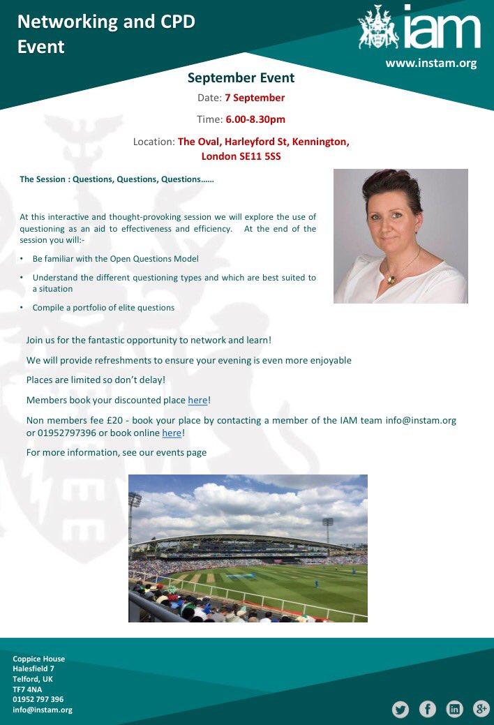 Delighted to be supporting @IAM_1915 with a network/training event @KiaOvalEvents 7th September #lovelondon #PAs  http://www. instam.org/cpd-the-sessio n-questions-questions-questions &nbsp; … <br>http://pic.twitter.com/wKt0fbkmYG