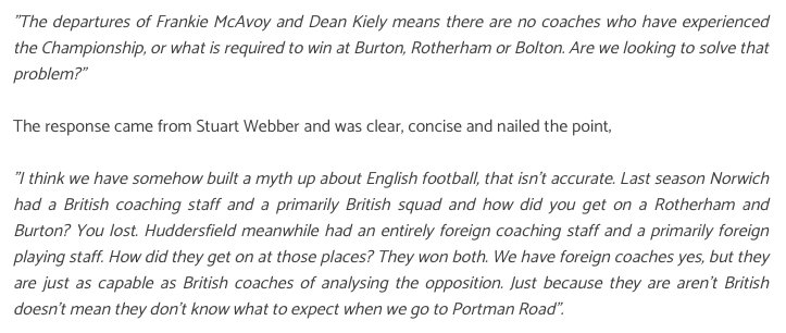 Particularly a fan of this Webber quote, responding to an idiotic comment at the Fans Forum. #ncfc <br>http://pic.twitter.com/pVn6l8IZ5G
