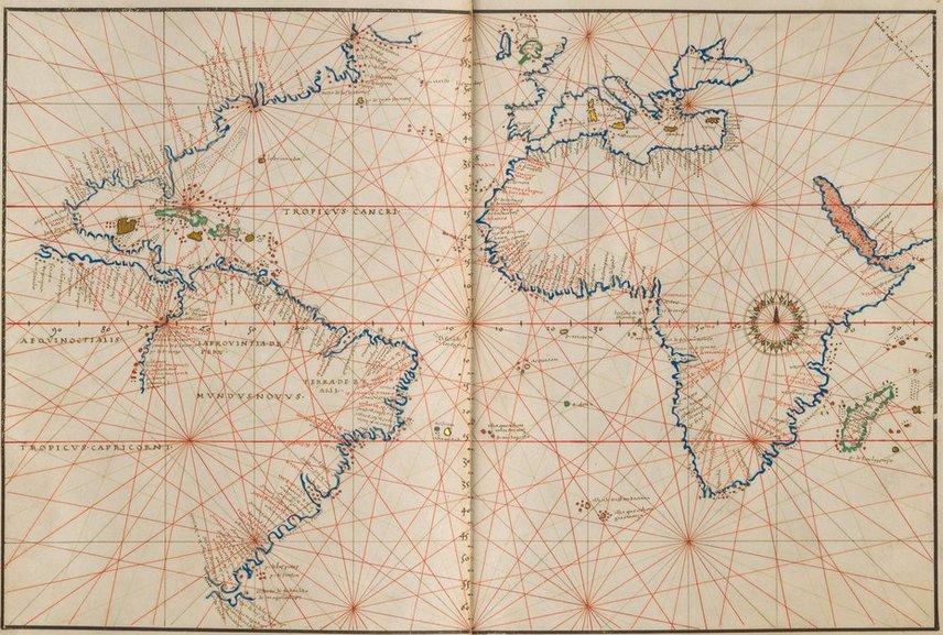 الأطلس البحري للخرائطي الجنوي باتيستا أغنيسي يرجع لعصر النهضة ويتميز بجماله وجودته العالية. #Maps #NauticalAtlas https://t.co/g2PaBN4A68 https://t.co/MWmupta8uh