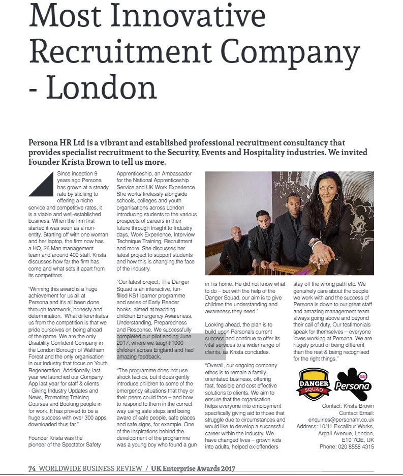 #TeamPersona have been awarded #MostInnovative Recruitment Company by UK Enterprise 2017 &amp; @AI_Global_Media! We&#39;re happy to be recognised!<br>http://pic.twitter.com/VBs5fXGuP2