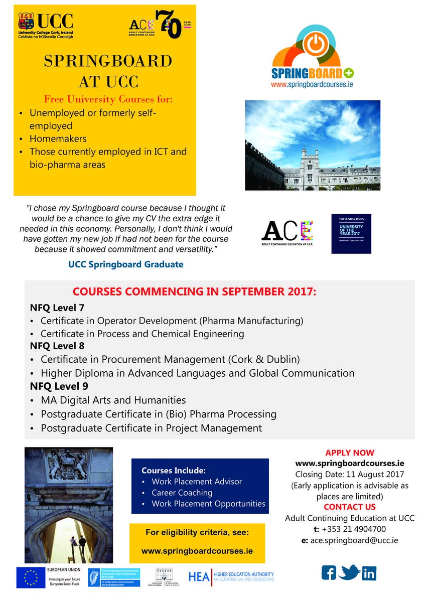 Ace Ucc On Twitter August 11 Deadline Is Fast Roaching For Springboardhea Free Courses Check Https T Co Rkdrov08ya To Out