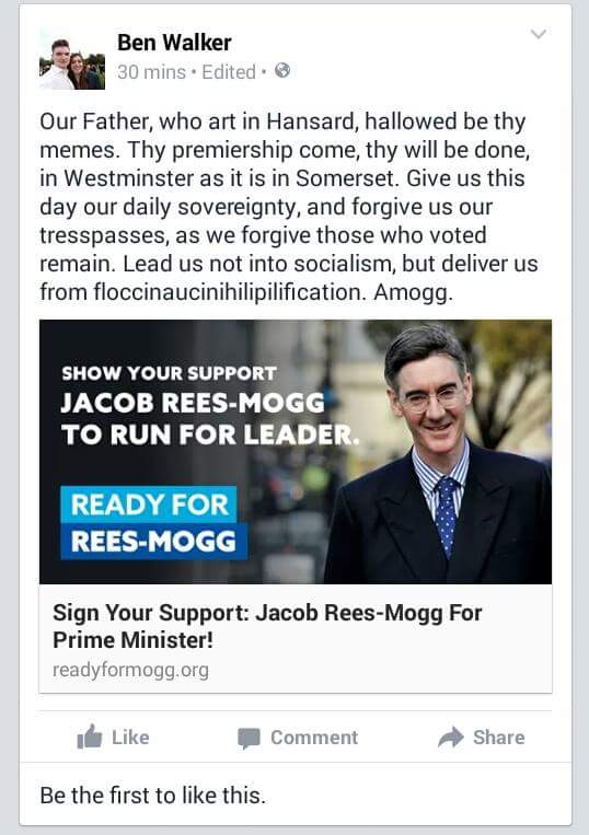 This has to be the funniest political post I have seen on Facebook. So funny and intelligent. #Moggmentum https://t.co/yS7k4wLNPm