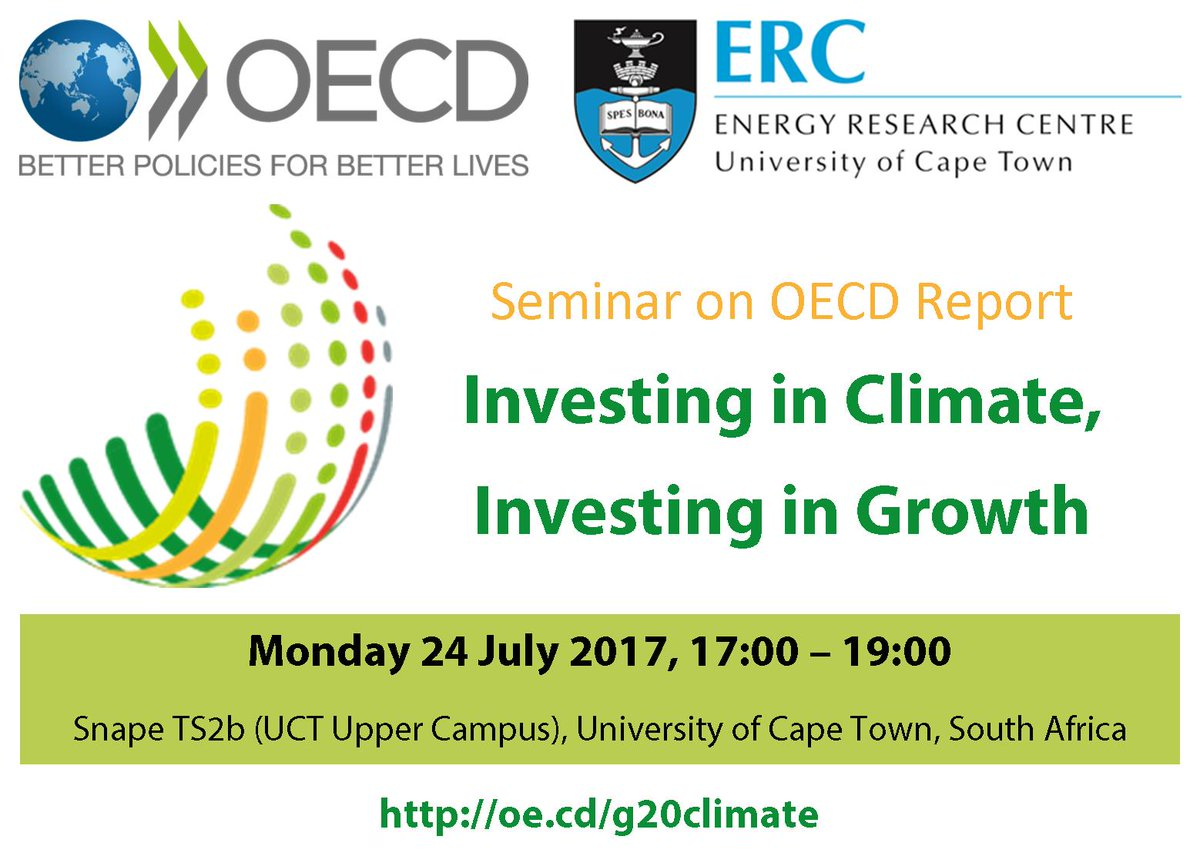 Join #OECD and #UCT on Monday in #CapeTown to discuss #climateaction and #growth opportunities in South Africa   http:// bit.ly/2teNfoU  &nbsp;  <br>http://pic.twitter.com/ompmdDiTPr