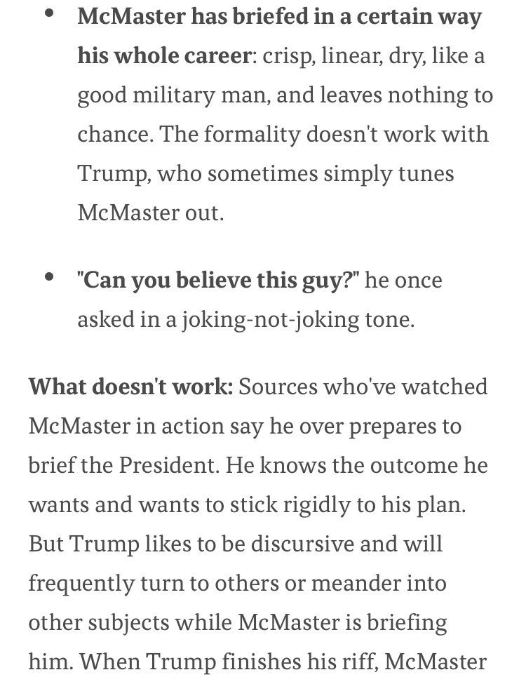 Trump gets irritated with his national security advisor for being...very prepared and organized, Axios reports: https://t.co/cVocruuyKx