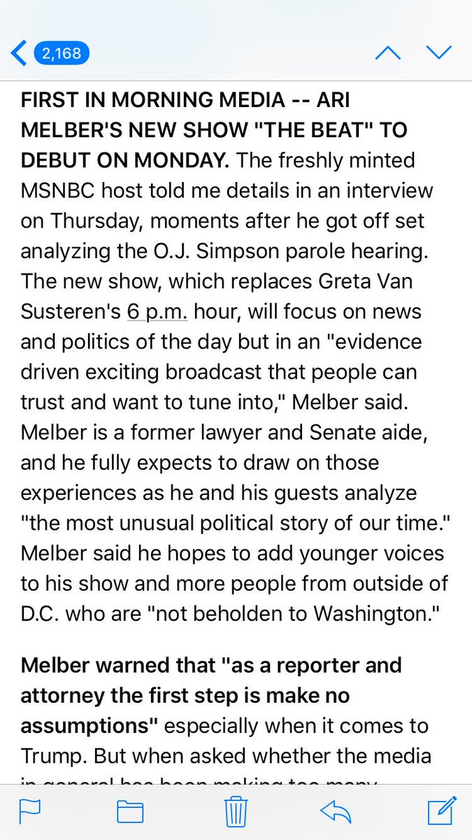 First in Morning Media: Ari Melber's new show will be called 'The Beat' and starts Monday  https://t.co/ip2VnE9vJS