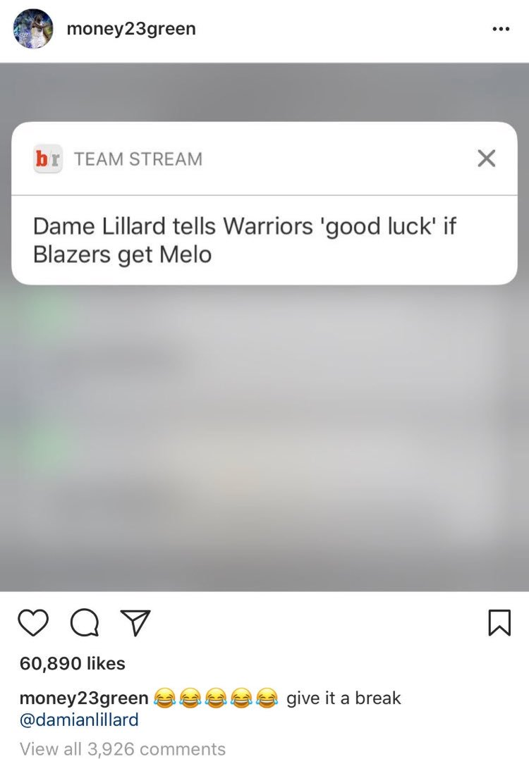 Draymond Green doesn't seem too agree with Dame Lillard's assessment that the Blazers would be an elite team if the land Melo...