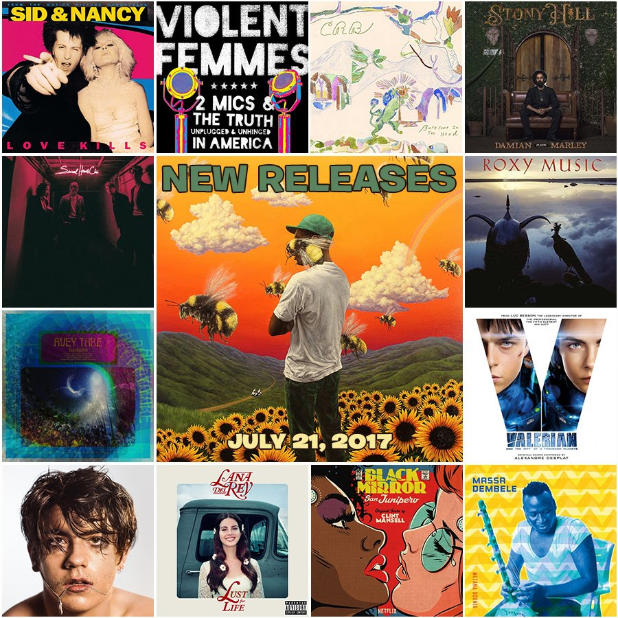 Out today: @tylerthecreator, @LanaDelRey, @damianmarley, @TheCRB, @fosterthepeople, @aveytare, @DeclanMcKenna  &amp; more. #NewMusicFriday <br>http://pic.twitter.com/HWwYBgqUkr