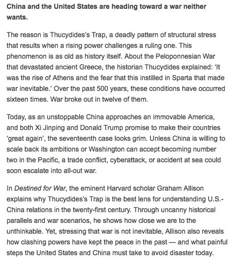 New White House Dir. of Coms Anthony Scaramucci has repeatedly promoted 'Destined for War: Can America & China escape the Thucydides trap?'