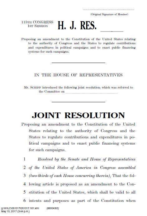 Just introduced Constitutional Amendment to overturn Citizens United. We must stop vast sums of anonymous money that threaten our democracy.