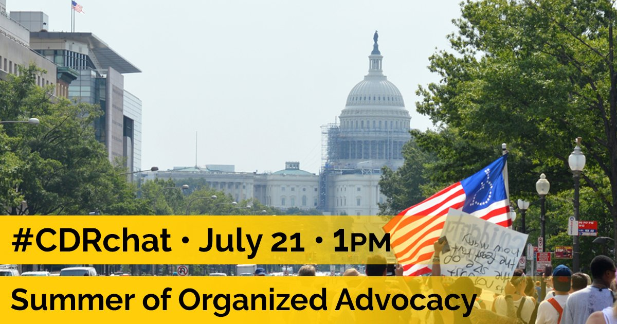 #CDRchat on Summer of Organized Advocacy is coming up today at 1pm EST! Hear stories and ask qqs! https://t.co/MvCHgkOvxT #ADAPTandRESIST https://t.co/bsGn1FllBJ