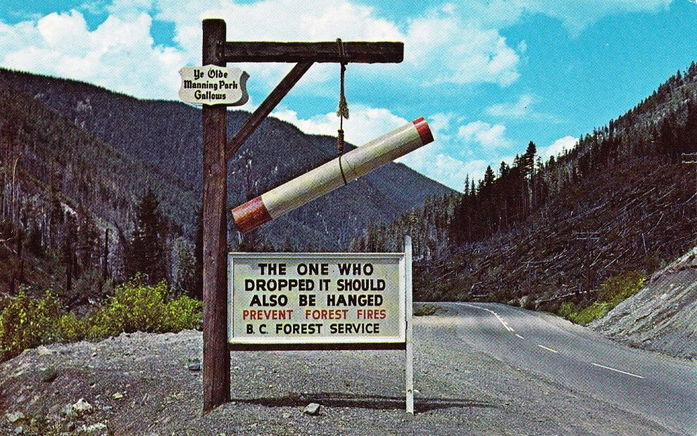 B.C. Was a little more blunt about people flicking cigarette butts in the 50s & 60s. #BCWildfire https://t.co/jRnYZFIySd
