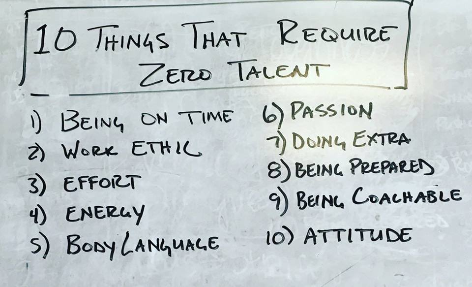In all we teach kids; remember to include these 10 things that require zero talent: #edchat #FridayFeeling #BoldSchool #K12 #learnfwd17<br>http://pic.twitter.com/gln87ctz7x