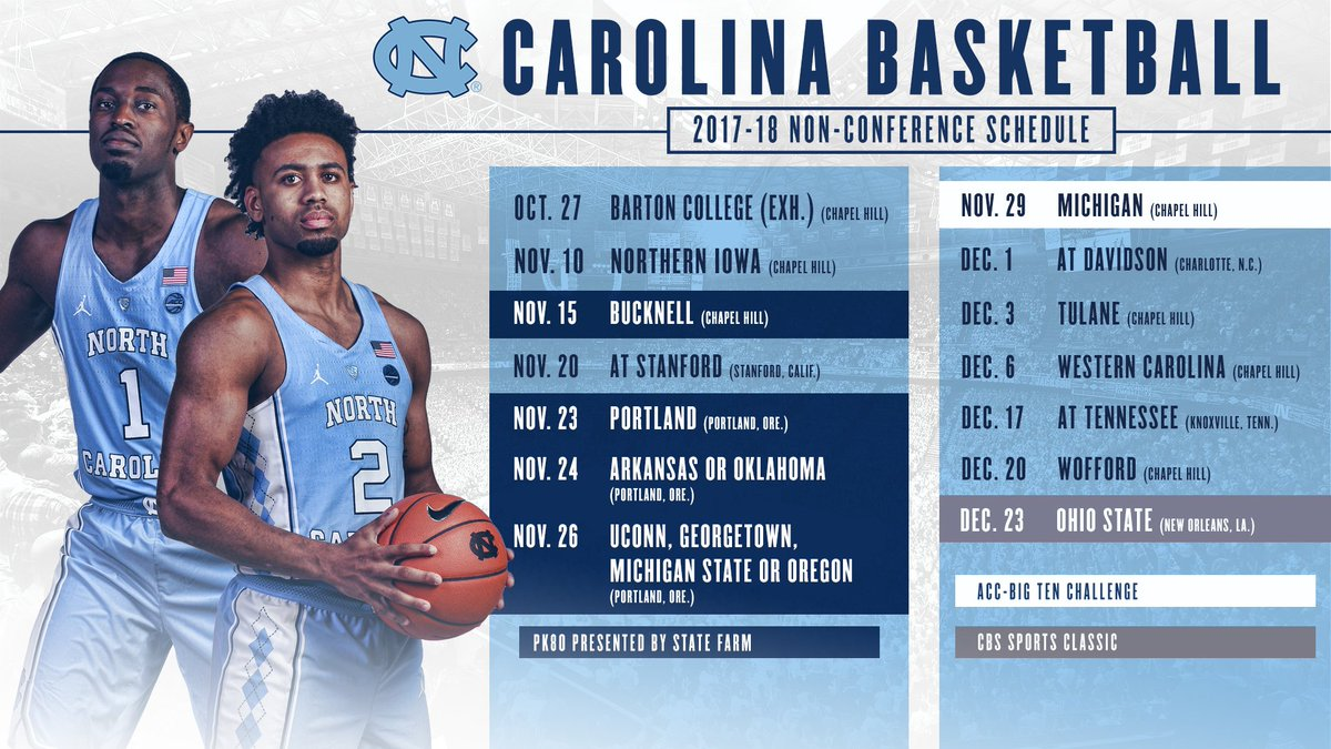 "carolina basketball on twitter: ""tar heels announce 2017-18 non"