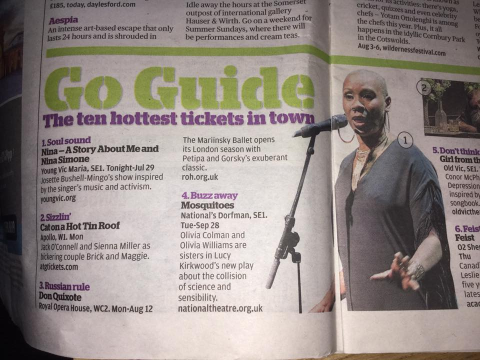 Number 1 - hot ticket in the @EveningStandard tonight!! #YVNina #SOLDOUT https://t.co/AWIKGJACKL