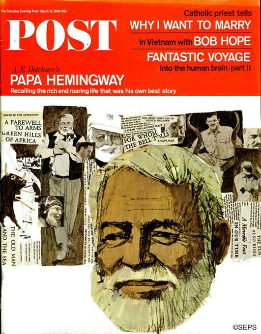 Happy birthday, Hemingway! 1966 cover art by Fred Otnes.