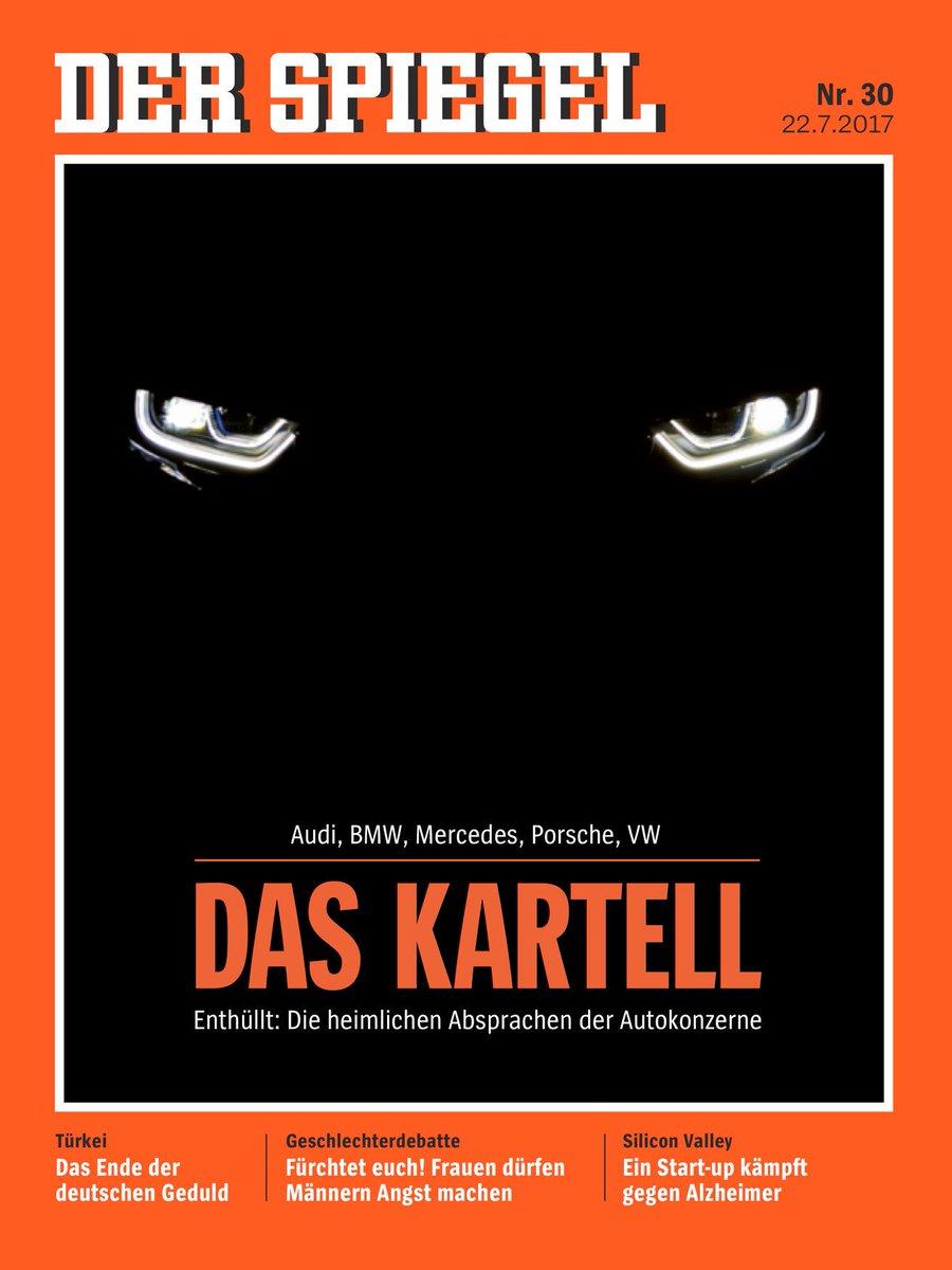 Jolie couverture du 'Spiegel' qui fait des révélations sur la 'collusion secrète' du cartel des constructeurs automobiles.