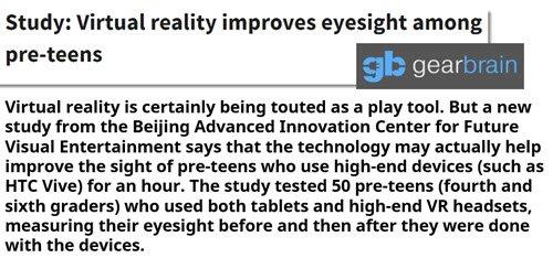 Study: #VR improves #eyesight among pre-teens  https:// goo.gl/hNZKc7  &nbsp;   #technews #wearabletech #IoT #VRtech #HealthIT<br>http://pic.twitter.com/NPDshBjXsL