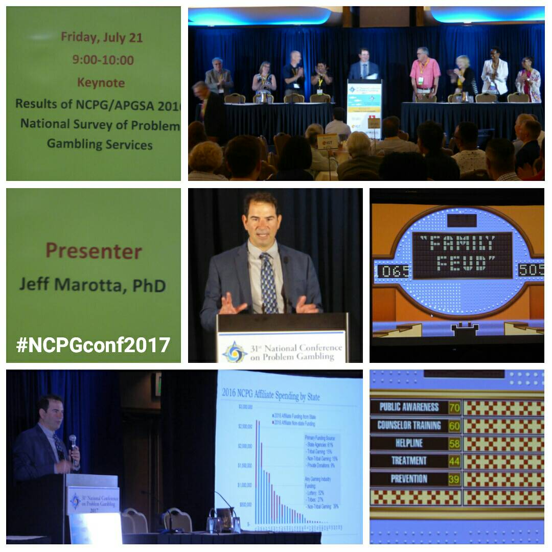 Jeff Marotta presenting the #NCPG and #APGSA National Survey Results after a game of Family Feud! #NCPGconf2017 #problemgambling <br>http://pic.twitter.com/7xGIO7Xbsl