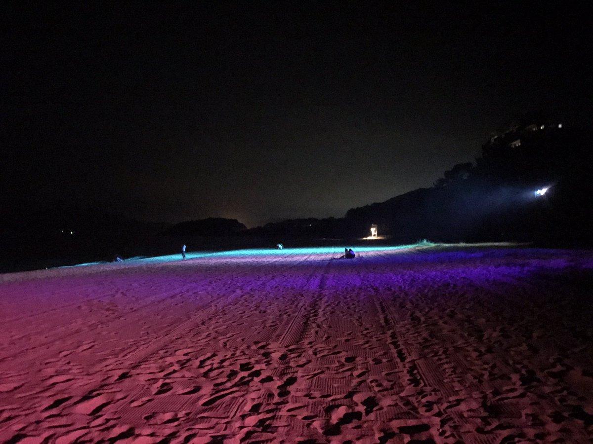 昨日の夜はライトアップされた光市虹ヶ浜に行ってみた。 幻想的な雰囲気だったよ(´-`).。oO https://t.co/qfeNImdFtw