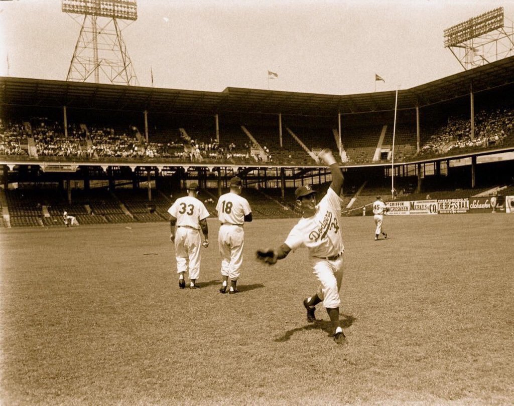 &quot;Old Days&quot;Brooklyn Dodgers &quot;Bonus Baby&quot; Sandy Koufax loosens up before a 1955 game at Ebbets Field. #Dodgers #Brooklyn #mlb #hof #NYC<br>http://pic.twitter.com/6znVNa6JId