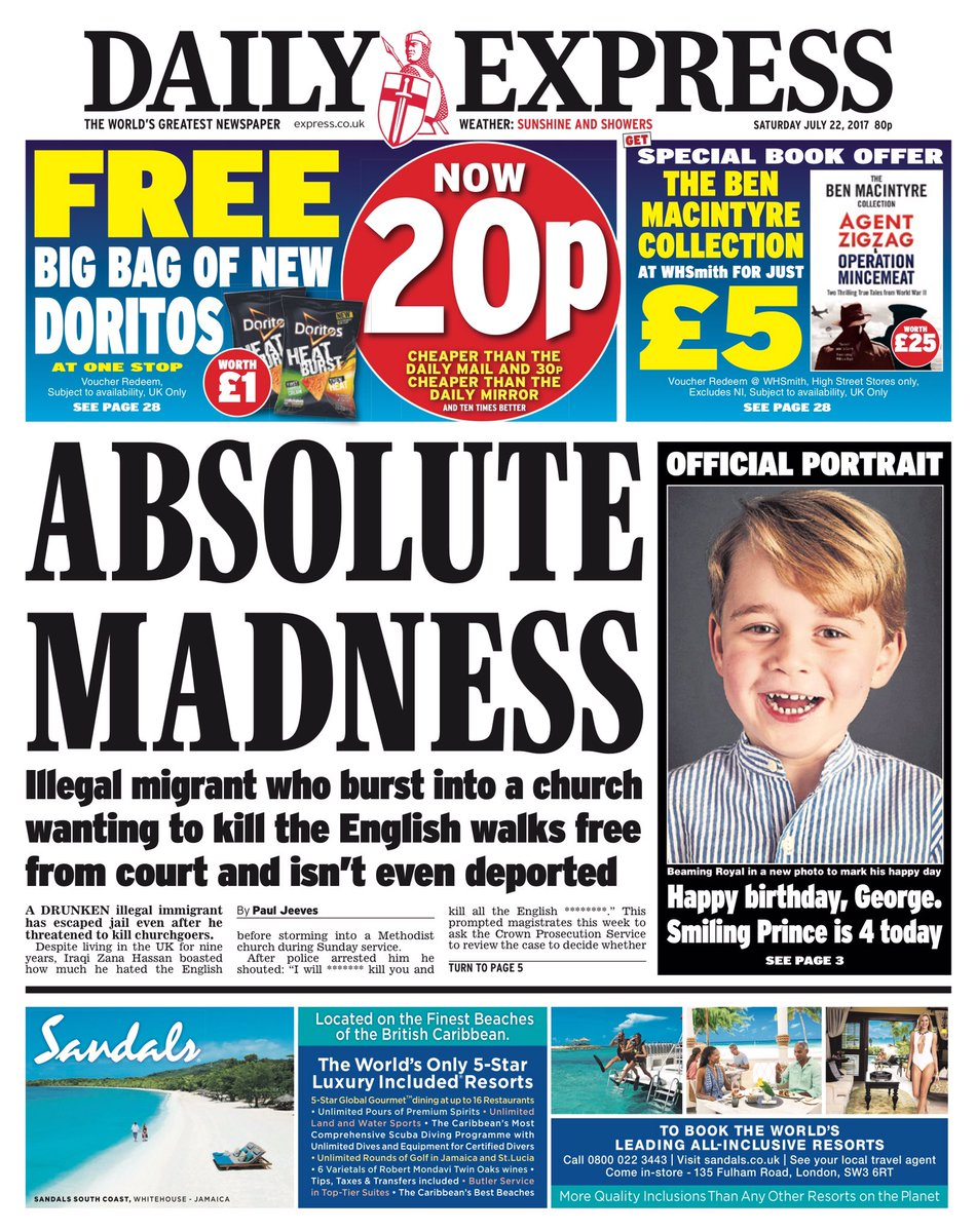 Saturday's DAILY EXPRESS: 'Absolute madn...