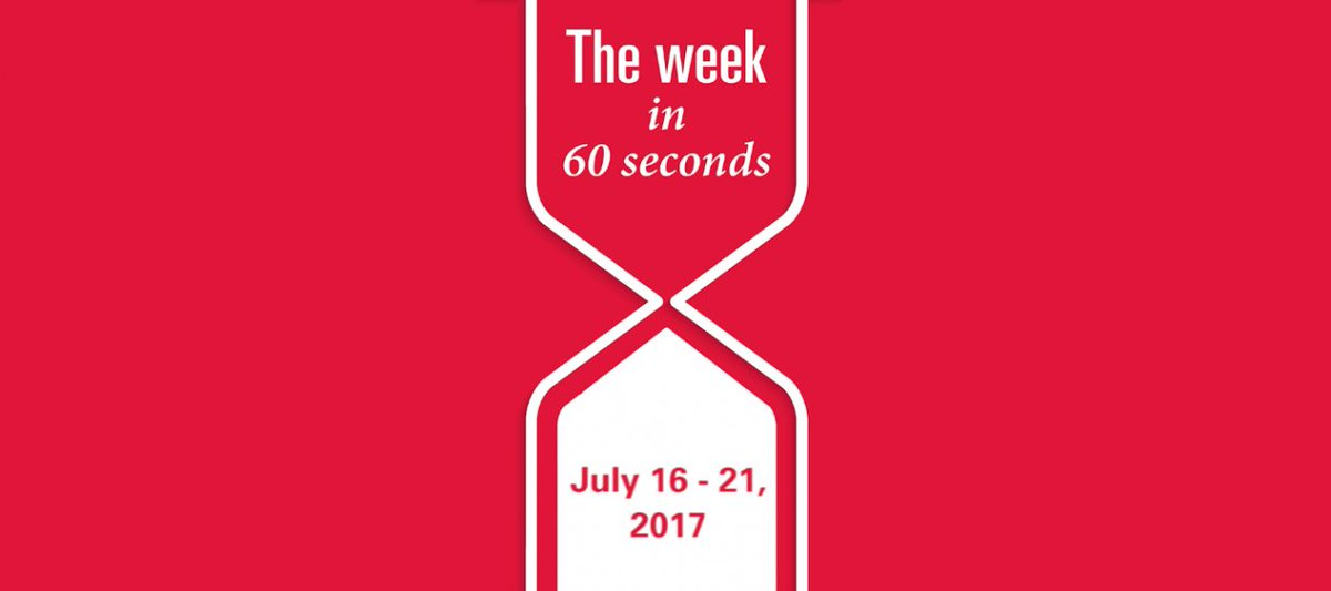 The week in 60 seconds: https://t.co/qiztxlgMFs