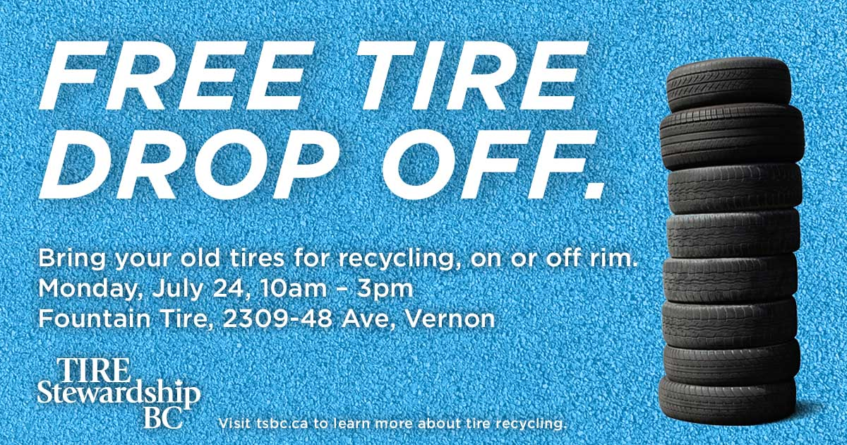 Round-up time! #Recycle your tires for FREE on Mon, JUL 24 at @FountainTire in Vernon. #BuyBlackGoGreen<br>http://pic.twitter.com/zLKxi7lr4U