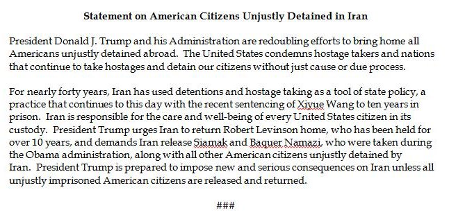 WH warns Iran of 'new and serious consequences' unless it releases 'all unjustly imprisoned American citizens' there.
