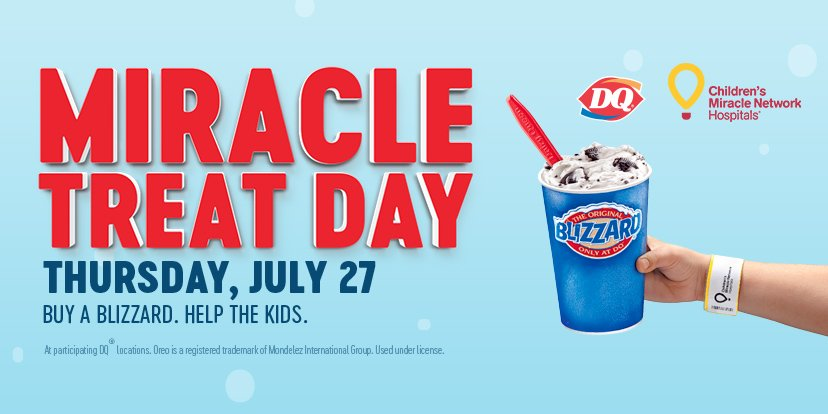🍦 @DairyQueen's #MiracleTreatDay is coming up! We know @NordyWild is excited for a BLIZZARD to help @CMNHospitals, are you?