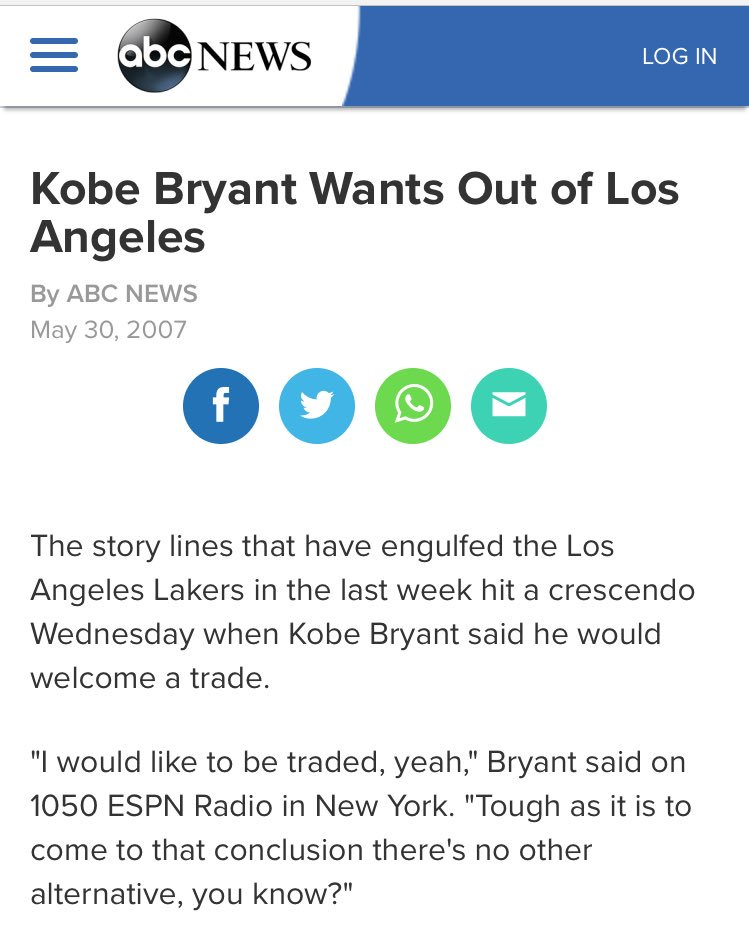 Eight years ago. Lakers sat tight.  Then they won two more titles over the next three seasons.