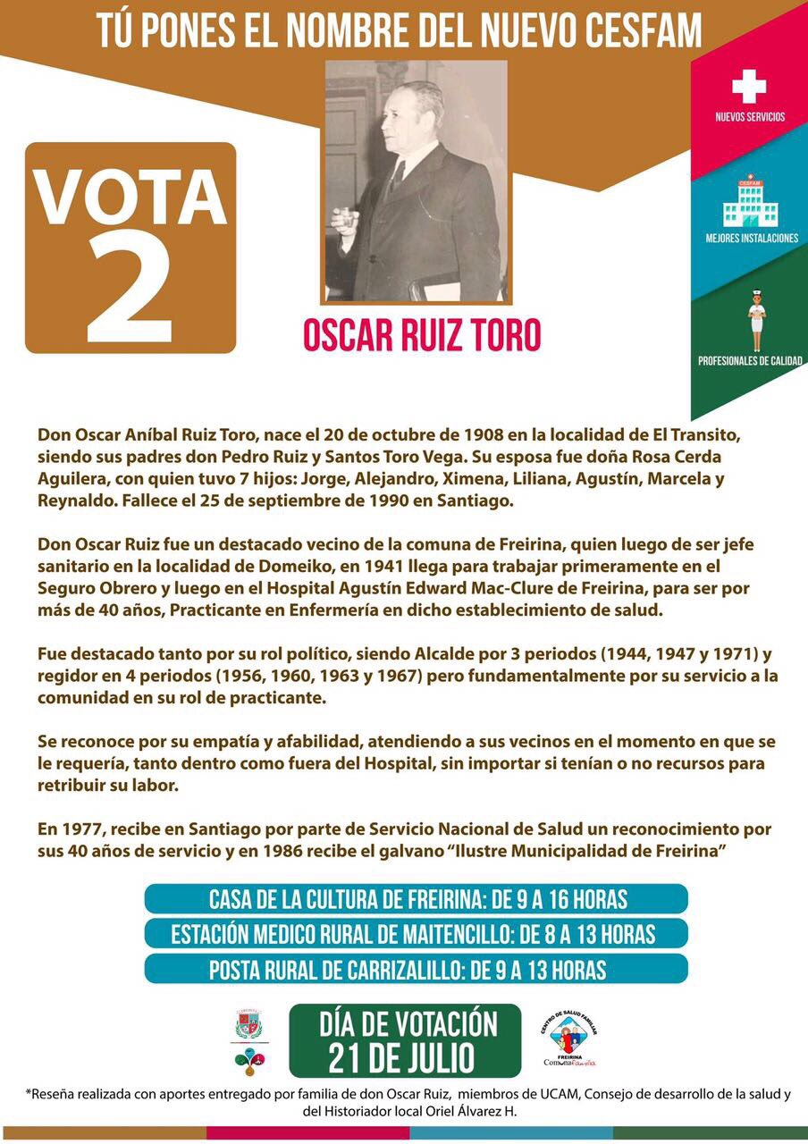 Cesfam de Freirina llevará el nombre Oscar Ruiz Toro, destacado vecino de la comuna. https://t.co/ekOjK2Q476