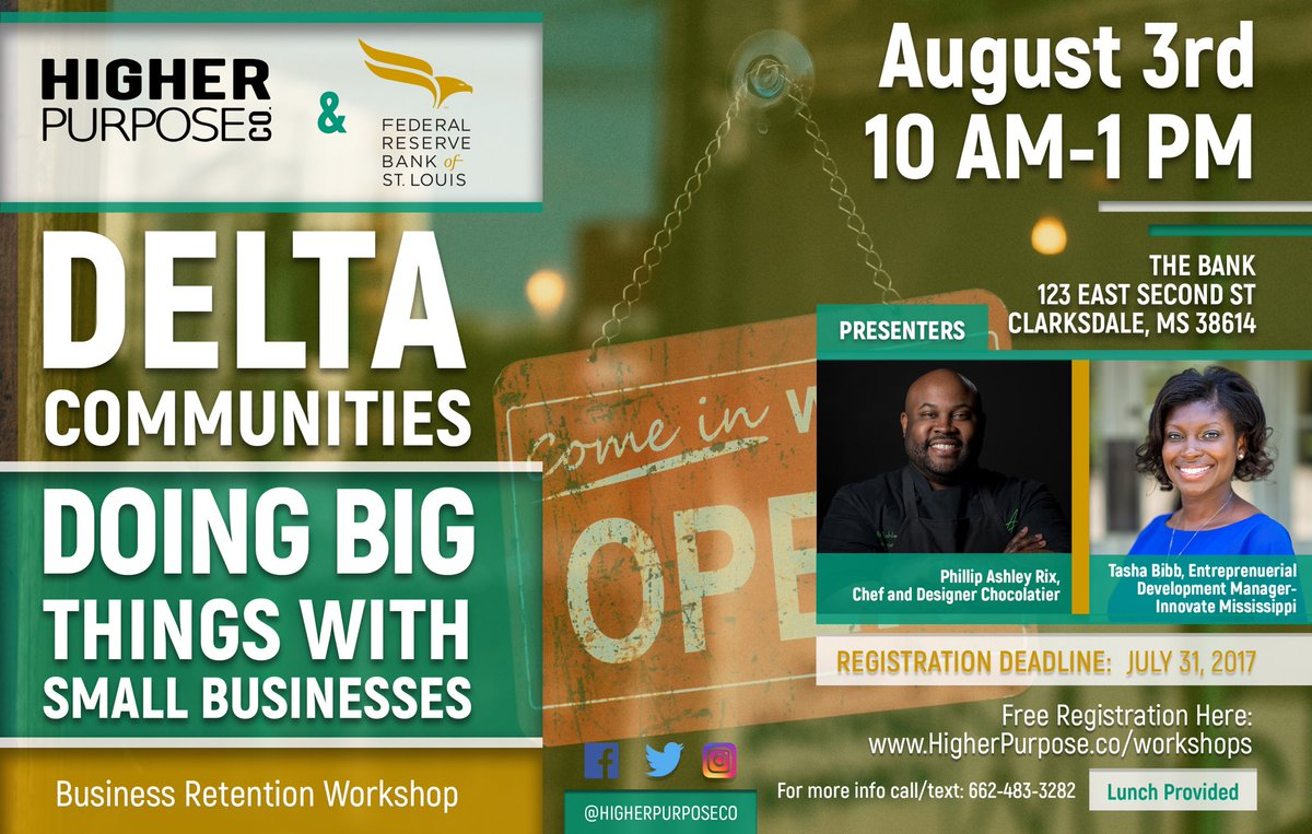 Register for the @stlouisfed Delta Communities event on August 3rd to support #SmallBusinesses in the #MSDelta.  http://www. higherpurpose.co/workshops/  &nbsp;  <br>http://pic.twitter.com/SGO9c9wSr7